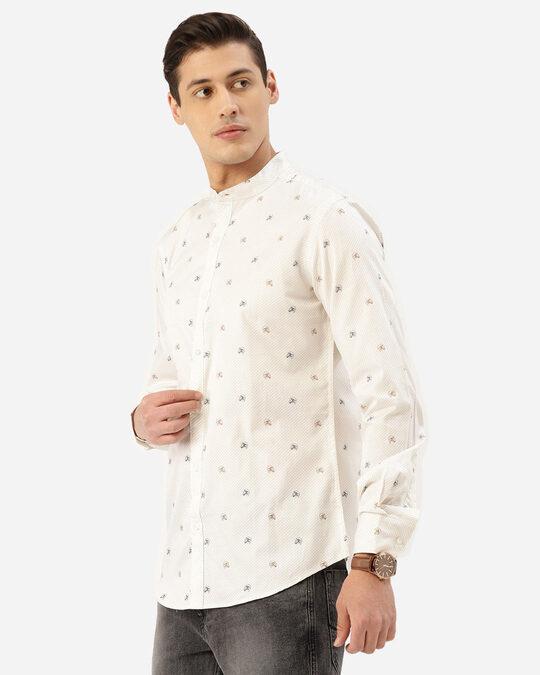 Shop Men Off White & Brown Horse Print Smart Shirt-Back