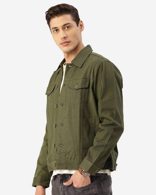 Shop Style Quotient Men Olive Green Solid Denim Jacket-Back