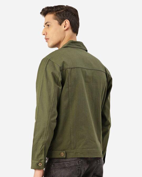 Shop Style Quotient Men Olive Green Solid Denim Jacket-Design