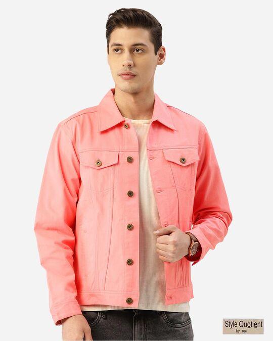 Shop Men Pink Solid Denim Jacket-Front