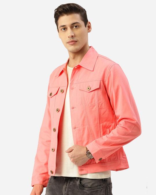 Shop Men Pink Solid Denim Jacket-Back