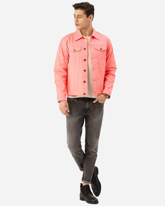 Shop Men Pink Solid Denim Jacket-Full