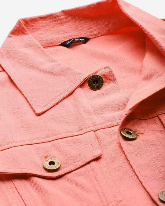 Shop Style Quotient Men Pink Solid Denim Jacket