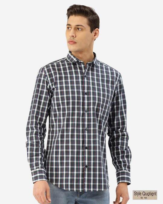 Shop Style Quotient Men Teal Green & Grey Checked Smart Shirt-Front