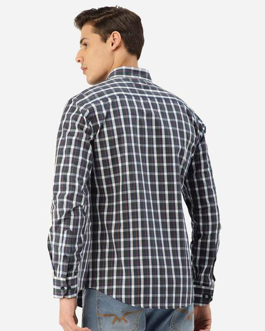 Shop Style Quotient Men Teal Green & Grey Checked Smart Shirt-Design