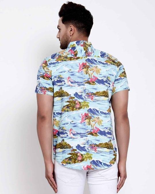 Shop Mens Blue Floral Print Shirt-Design