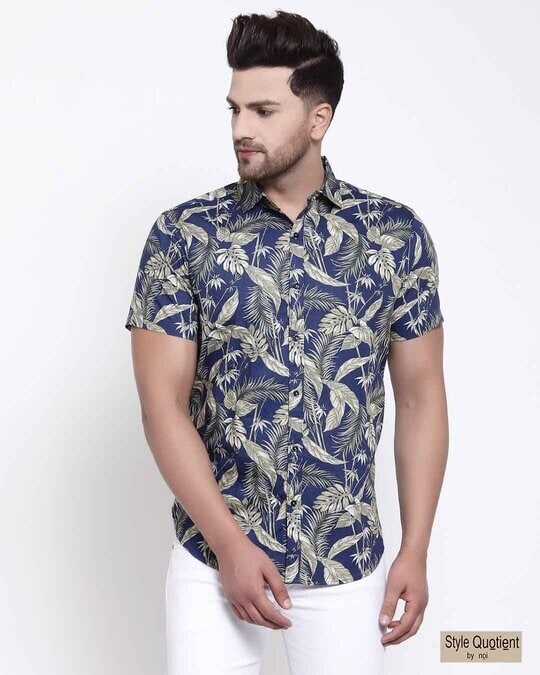 Shop Mens Blue Floral Print Shirt-Front