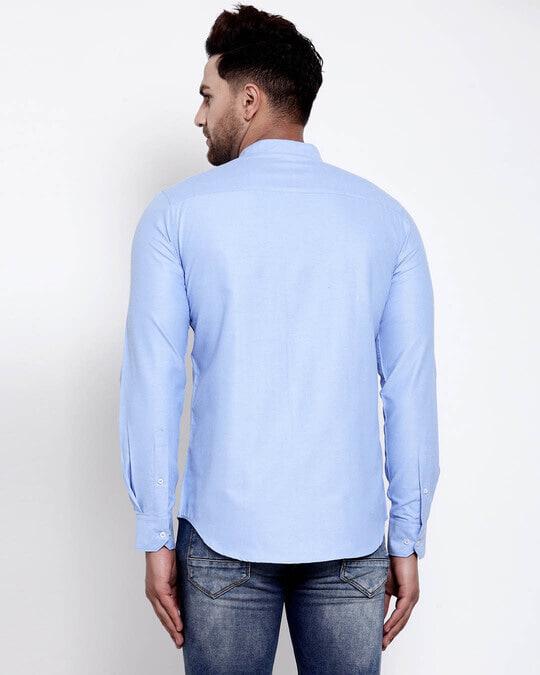 Shop Mens Blue Solid Shirt-Design