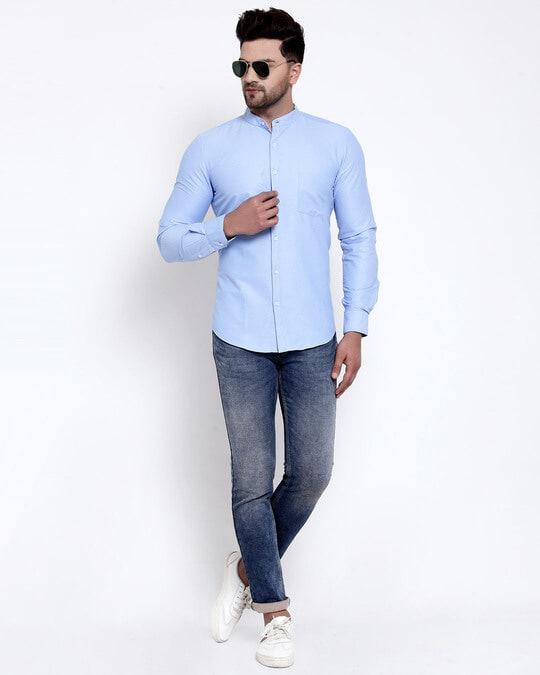 Shop Mens Blue Solid Shirt-Full