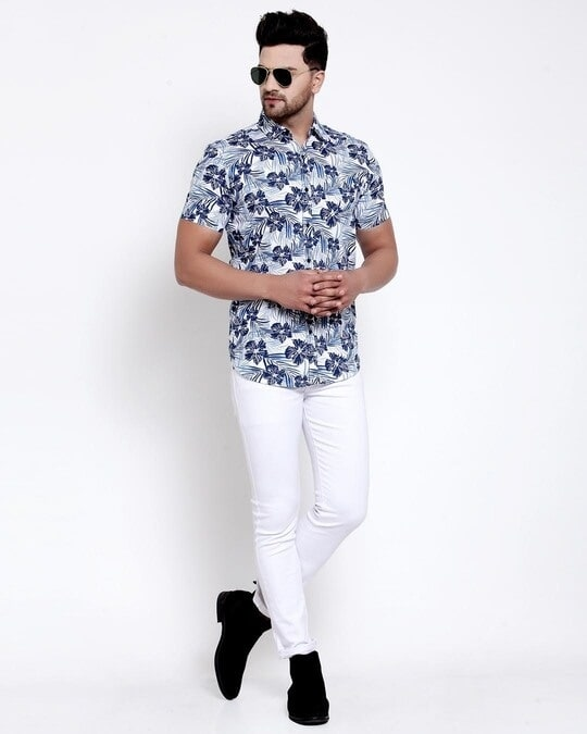 Shop Mens White Floral Print Shirt-Full