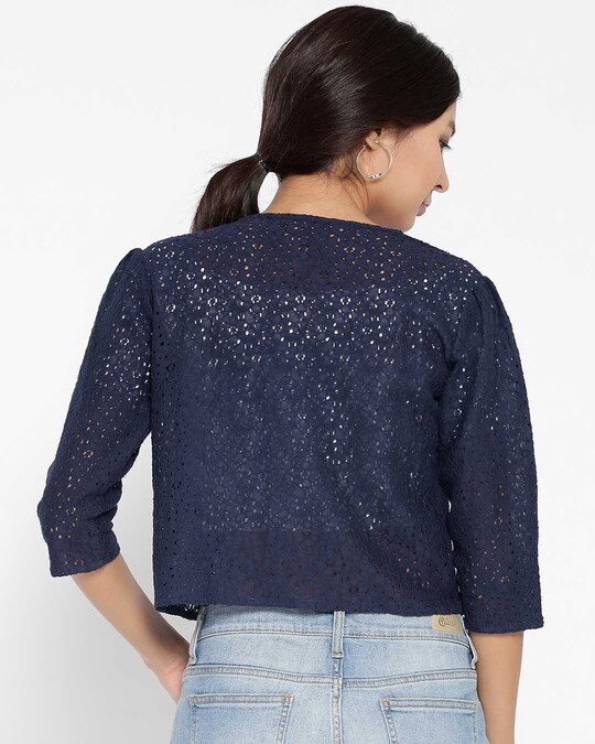 Shop Style Quotient Navy Lace Open Front Crop Shrug-Design