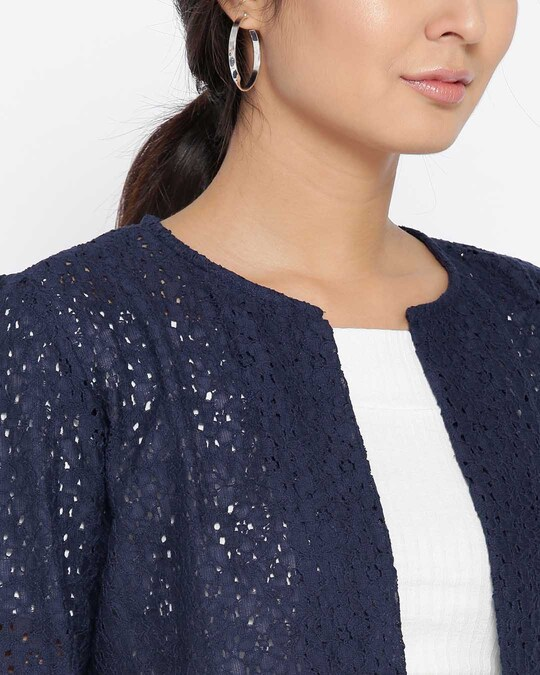 Shop Style Quotient Navy Lace Open Front Crop Shrug