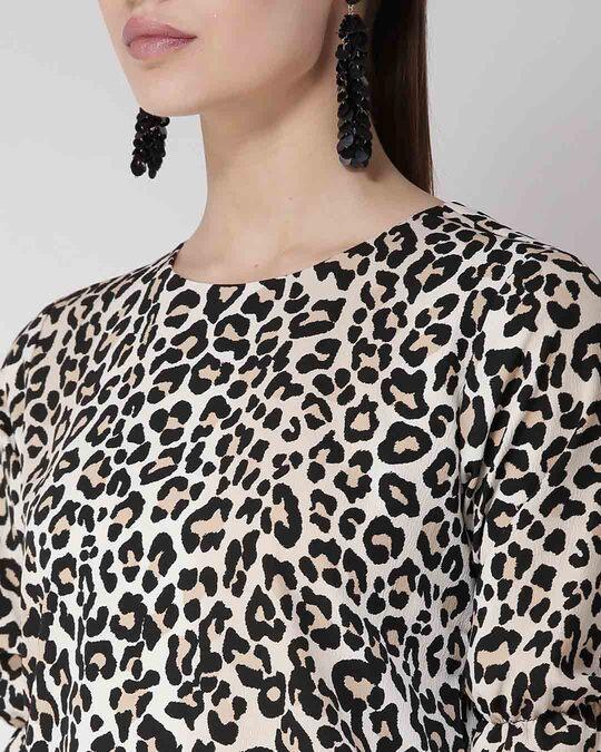 Shop Women Beige & Black Printed Top