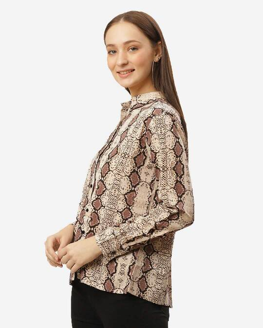 Shop Women Beige & Brown Print Casual Shirt-Back