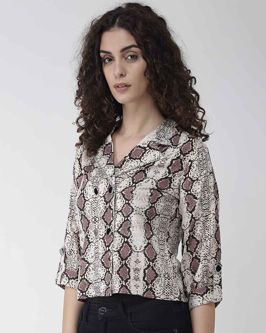 Shop Women Beige & Brown Snakeskin Print Shirt Women's Beige & Brown Snakeskin Print Shirt-Back