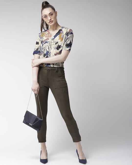 Shop Women Beige & Navy Blue Floral Print Blouson Top-Full