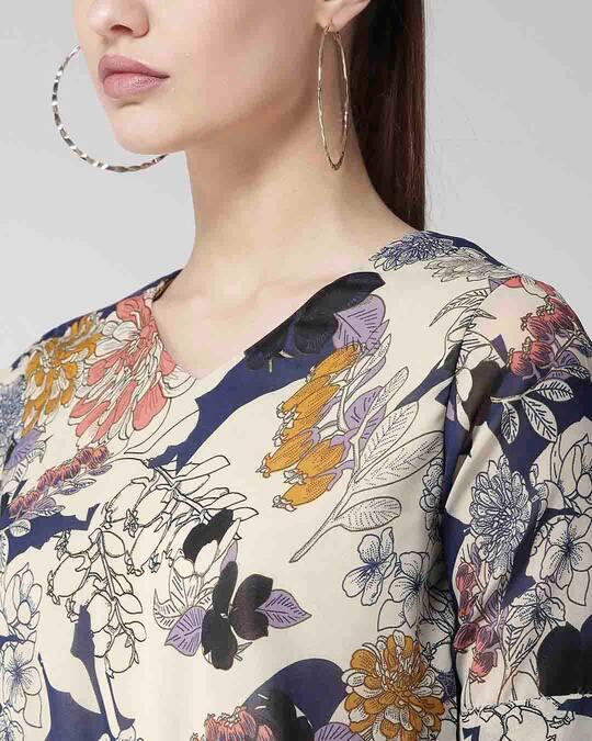 Shop Women Beige & Navy Blue Floral Print Blouson Top