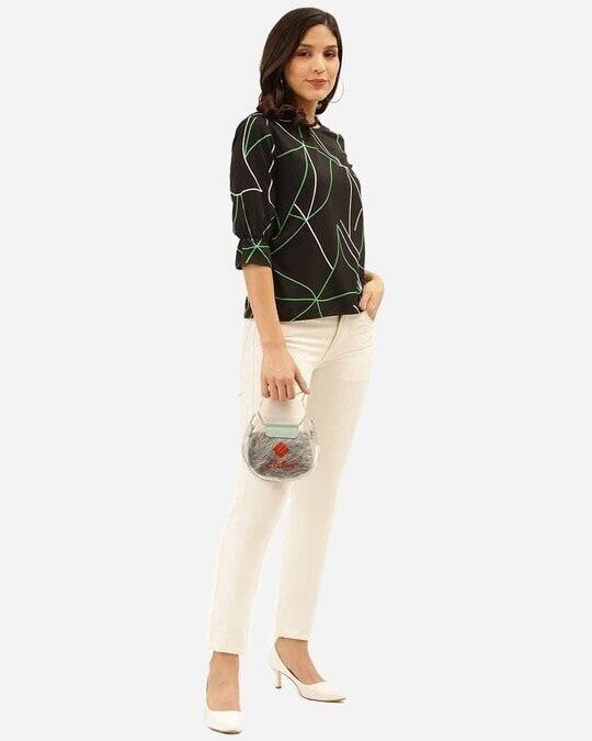 Shop Style Quotient Women Black & Green Abstract Print Regular Top-Full