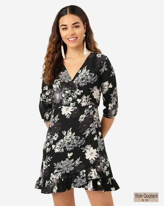 Shop Style Quotient Women Black & Off-White Floral Print Wrap Dress-Front