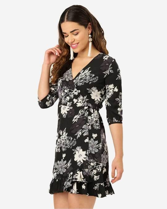 Shop Style Quotient Women Black & Off-White Floral Print Wrap Dress-Back