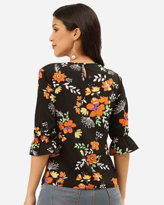 Shop Style Quotient Women Black & Orange Floral Print Regular Top-Design