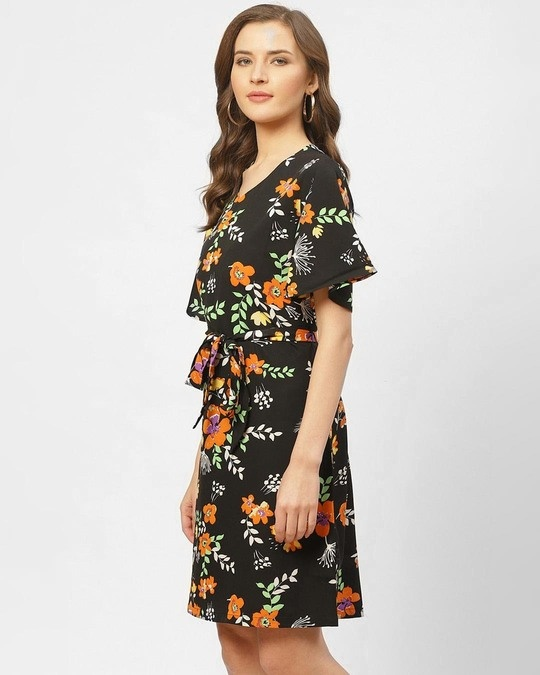 Shop Women Black & Orange Floral Printed A Line Dress-Back