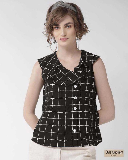 Shop Style Quotient Women Black & White Checked Top-Front