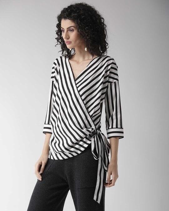 Shop Style Quotient Women Black & White Striped Wrap Top-Back