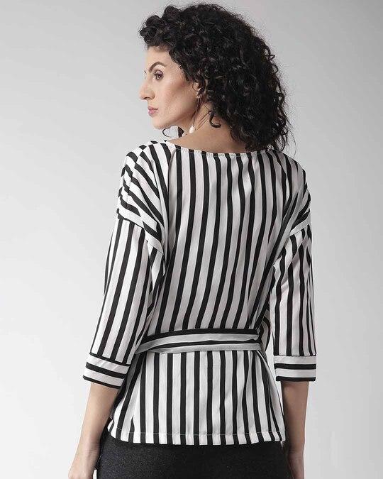 Shop Style Quotient Women Black & White Striped Wrap Top-Design