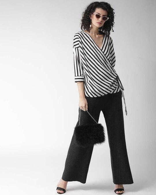 Shop Style Quotient Women Black & White Striped Wrap Top-Full