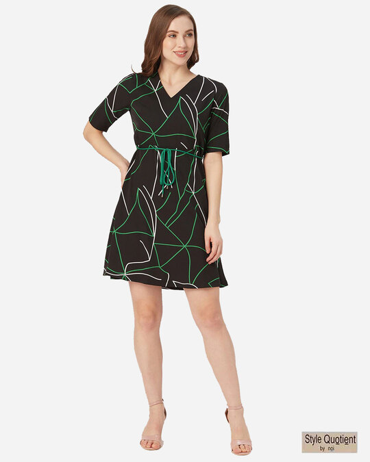 Shop Style Quotient Women Black and Green Abstract Print A-Line Dress-Front