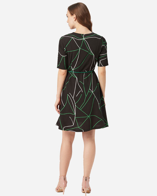 Shop Style Quotient Women Black and Green Abstract Print A-Line Dress-Design