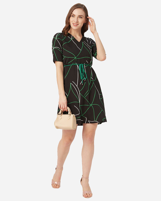 Shop Style Quotient Women Black and Green Abstract Print A-Line Dress-Full