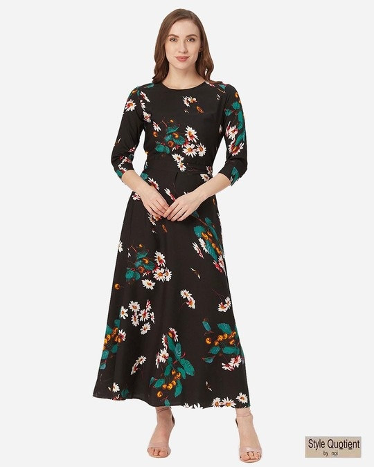 Shop Style Quotient Women Black and White Printed Maxi Dress-Front