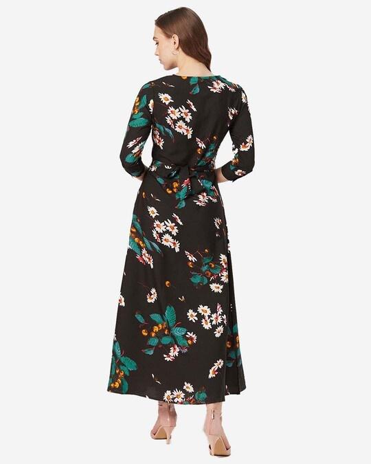 Shop Style Quotient Women Black and White Printed Maxi Dress-Design