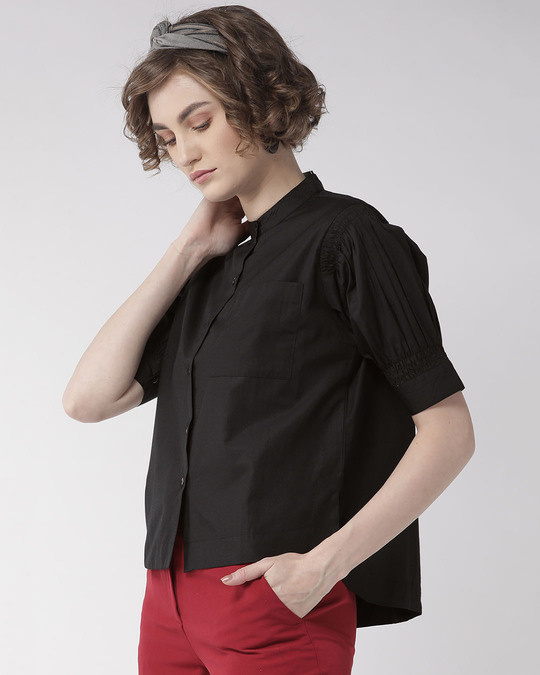 Shop Women Black Comfort Boxy Fit Solid Casual Shirt-Back