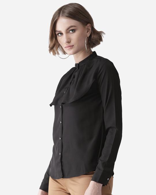 Shop Women Black Contemporary Solid Smart Casual Shirt-Back