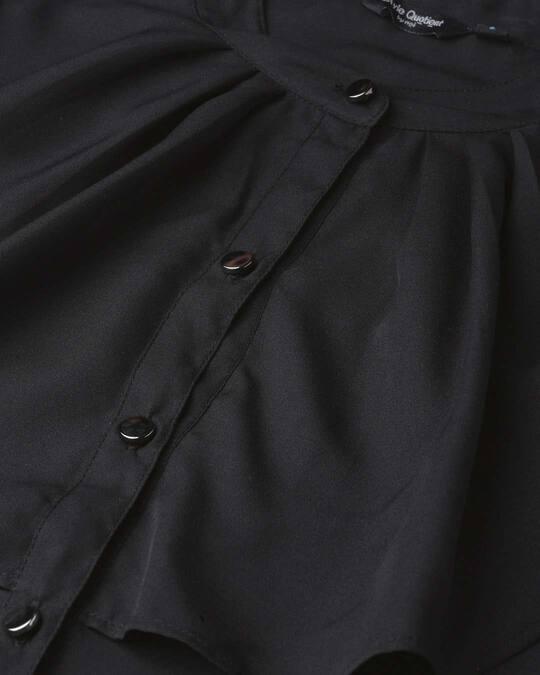Shop Women Black Contemporary Solid Smart Casual Shirt