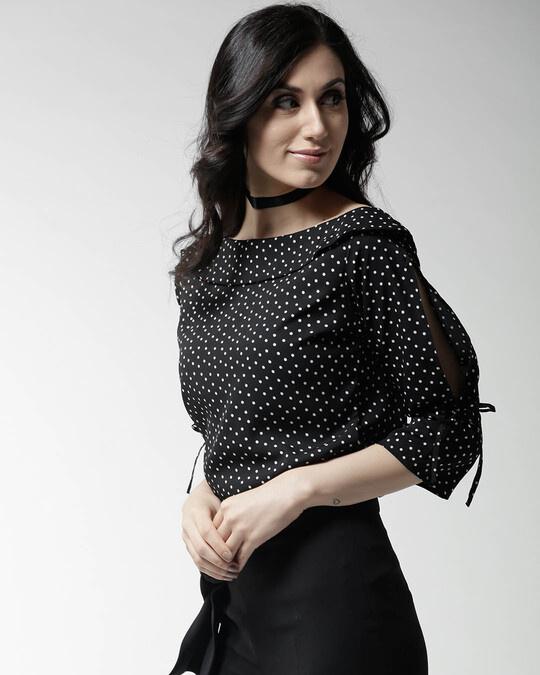 Shop Style Quotient Women Black Polka Dot Print Top-Back
