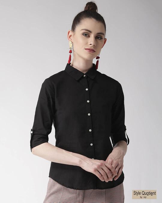 Shop Women Black Regular Fit Solid Casual Shirt-Front