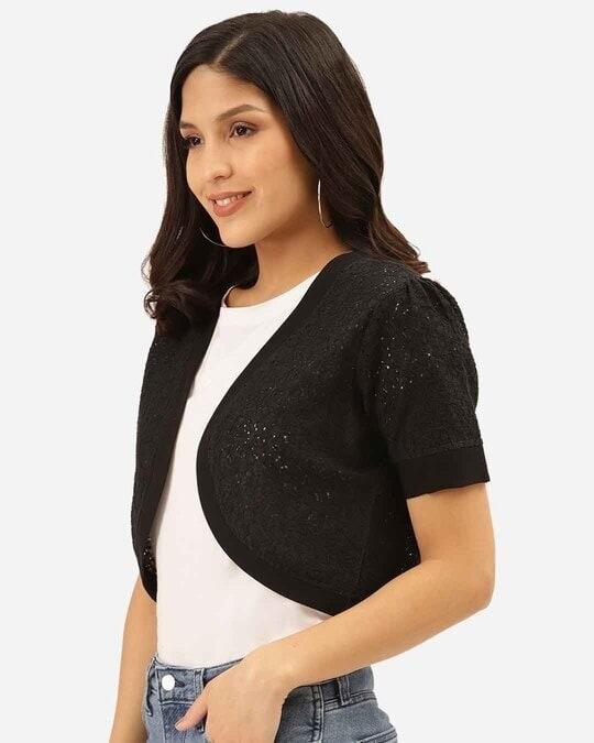 Shop Women Black Self Design Cropped Shrug-Back
