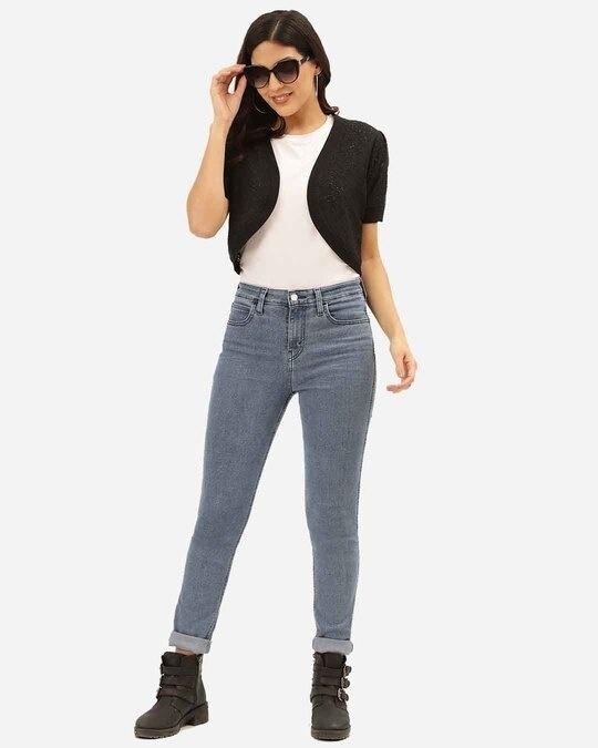 Shop Women Black Self Design Cropped Shrug-Full