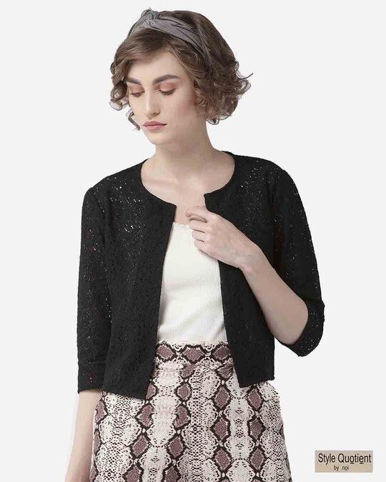 Shop Style Quotient Women Black Self Design Open Front Crop Shrug-Front