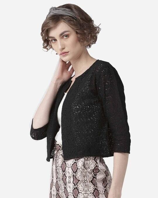 Shop Style Quotient Women Black Self Design Open Front Crop Shrug-Design