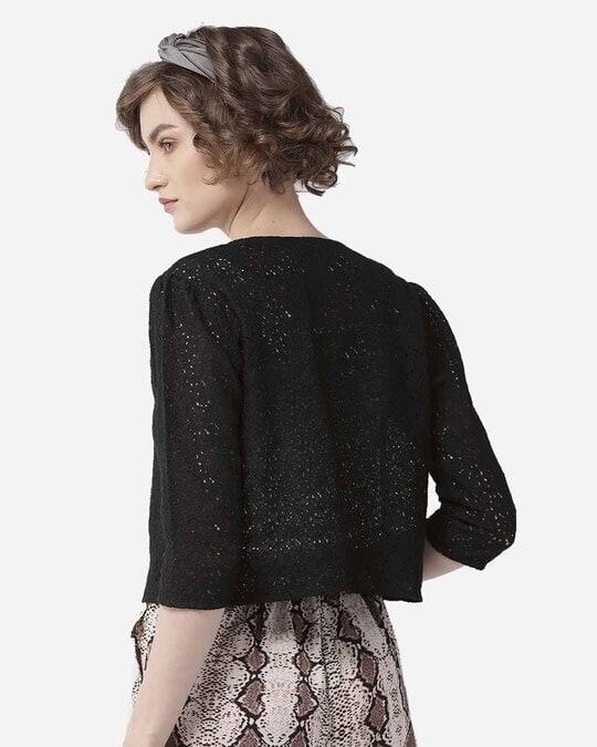 Shop Style Quotient Women Black Self Design Open Front Crop Shrug-Full