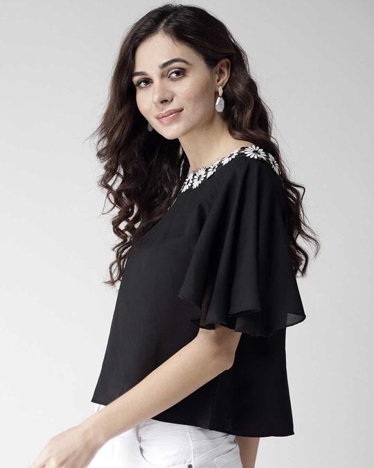 Shop Women Black Solid A Line Top-Back