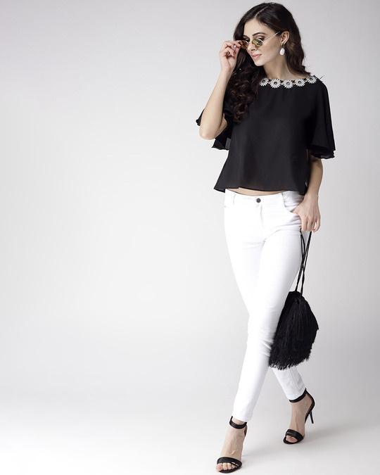 Shop Women Black Solid A Line Top-Full