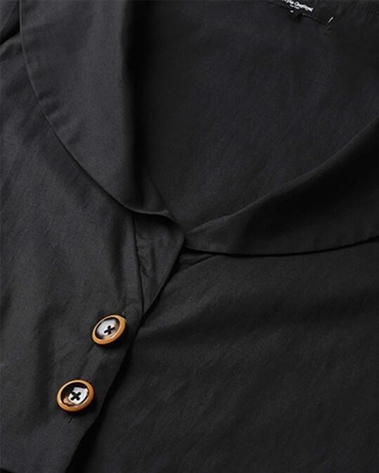 Shop Style Quotient Women Black Solid Buttoned Shrug-Back