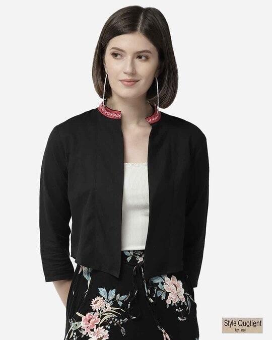Shop Style Quotient Women Black Solid Cropped Open Front Shrug-Front