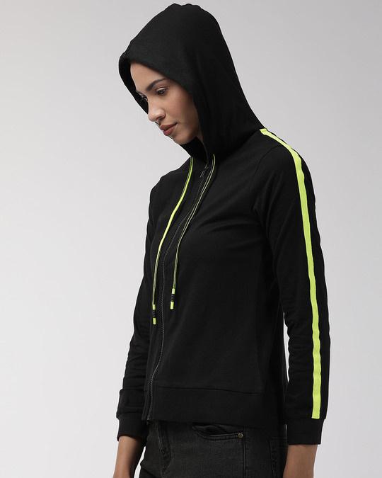 Shop Women Black Solid Hooded Sweatshirt-Back